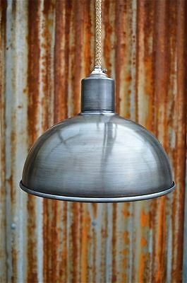 Retro Steampunk Antique Distressed Steel Ceiling Light Shade Lamp Hanging G1N