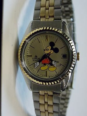 Womens Vintage Lorus Disney Mickey Mouse Watch Lot (Date)-( Two-Tone Band)-New