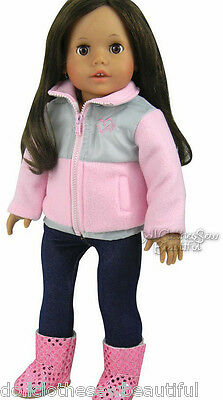 "Pink/Gray Jacket + Jeggings Outfit made for 18"" American Girl Doll Clothes"