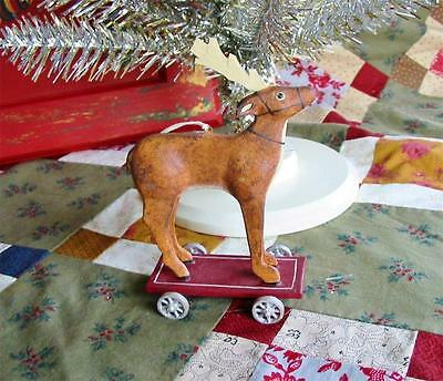 Bethany Lowe Allen Cunningham Reindeer Pull Toy Christmas Ornament