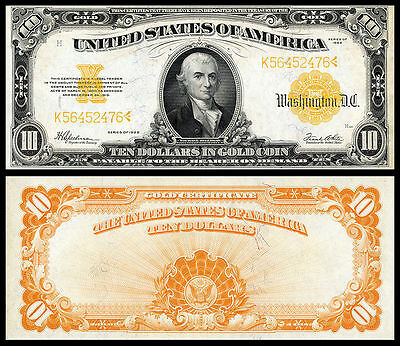 Nice  Crisp Unc.1922 $10 Gold Certificate Copy Please Read Description!
