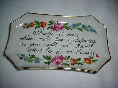 Vintage Limoges china pin tray with verse