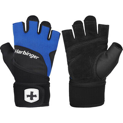 Harbinger 1250 Ventilated Training Grip Wrist Wrap Gloves - Black/Blue