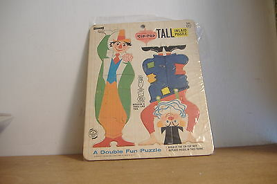 VINTAGE CHILDREN'S PUZZLE~ TIP TOP TALL INLAID PUZZLE~CLOWNS~DOUBLE FUN~