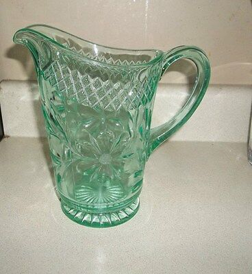 """Rare Us Glass Floral Diamond Band Green Depression Pitcher 8"""" Tall"""