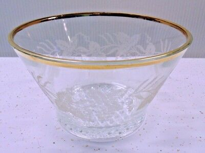 Mid Century Vintage Retro 1960's Etched Glass Ice Bucket Bowl Grapes Gold Rim