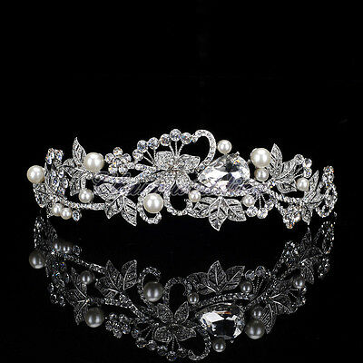 Pearls Crystal Tiara Veil Crown Vintage Wedding Bridal Leaves Headband Jewelry