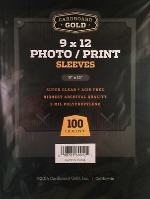 100 CBG 9 x 12 Photo / Print Acid Free Soft Poly Sleeves 9x12 covers protectors