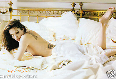 "ANGELINA JOLIE ""LAYING BARE BACK SHOWING HER TATTOOS"" POSTER FROM ASIA-Sexy Hot!"