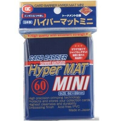 Kmc 60 Small Yugioh Card Barrier Sleeves Deck Protectors - Mini Hyper Mat Blue