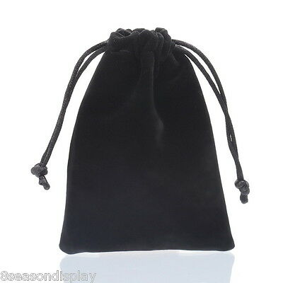 5PC Black Double-sided Flocking Velvet Drawstring Pouches Jewelry Gift Bag