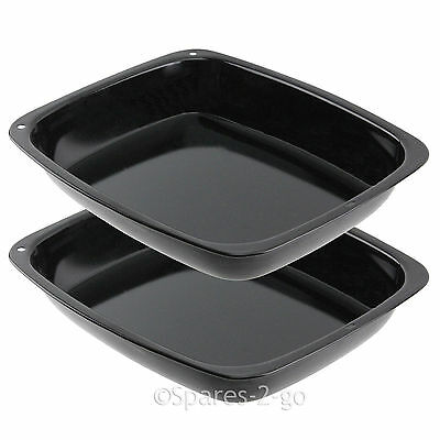 2 x Small Vitreous Enamel Roasting Tin Oven Baking Tray Roaster Deep Non Stick
