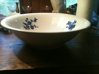 "ANTIQUE VICTORIAN 16"" FLOW BLUE & WHITE  IRONSTONE POTTERY BASIN BOWL"