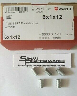 5 x WURTH M6 x 1  TIME SERT INSERTS  12mm length  - for Thread Repair