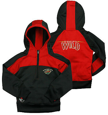 Reebok NHLYouth Girl's Minnesota Wild 1/4 Zip Active Pullover Hoodie, Black/ Red