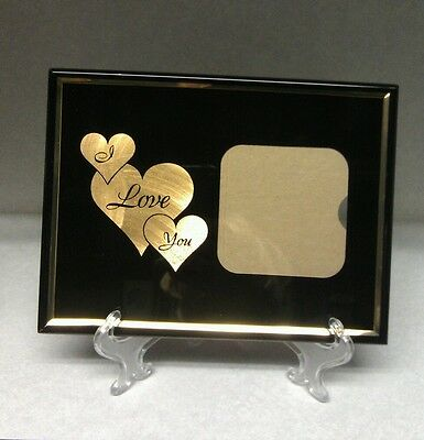 """I Love You Frame Black Metal Gold  Frames Heart 3"""" x 3"""" Pictures Contemporary"""