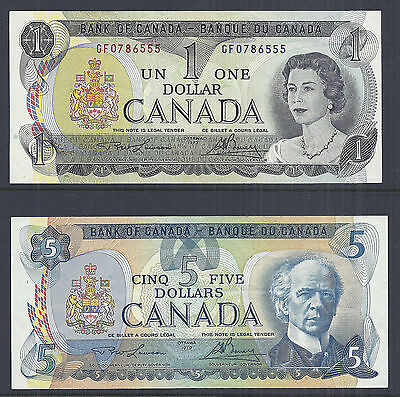 Bank of Canada Lot of 2 - $1/One and $5/Five Dollars 1973 & 1979, QE2 - AU*