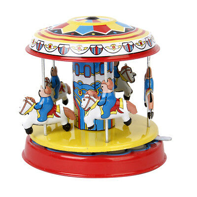 Vintage SPINNING Horse Carousel Fairground Merry Go Round Classic Tin Toy Gift