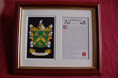 Robinson FRAMED Heraldic Coat of Arms Crest + History