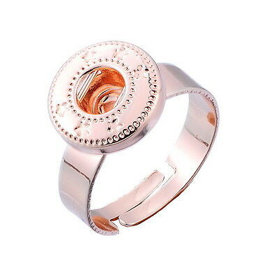 1PC Adjustable Ring Fit Snap Mini Button Size 7 Rose Gold 17.3mm