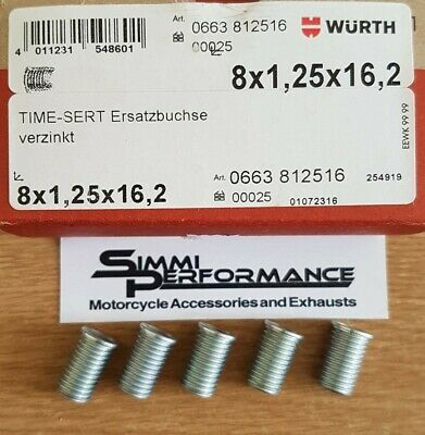 5 x WURTH M8 x 1.25 TIME SERT INSERTS  16.2mm length   - for Thread Repair