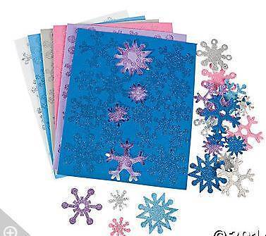 72 Glitter Snowflake Foam Sticker Snow Flake Pink Blue White Purple Silver