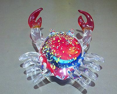 """LARGE Over 7"""" Studio Handcrafted Crab Art Glass Figure Paperweight Decoration"""