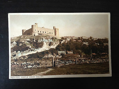 Harlech Castle From The Valley - Merionethshire - Vintage Postcard