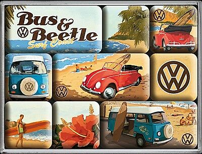 Volkswagen VW Bus and Beach set of 9 mini fridge magnets    (na)