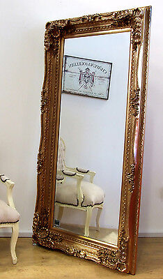 """Louis Large Ornate Carved French Frame Wall Leaner Mirror Gold - 35"""" x 69"""""""