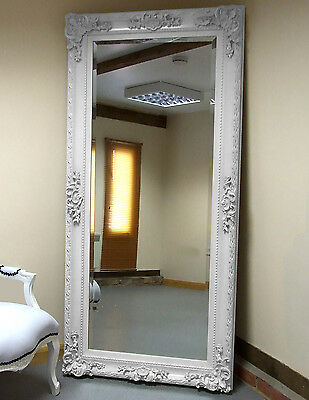"Paris WHITE Shabby Chic antique Full Length Leaner floor Mirror 69""x33"" X Large"