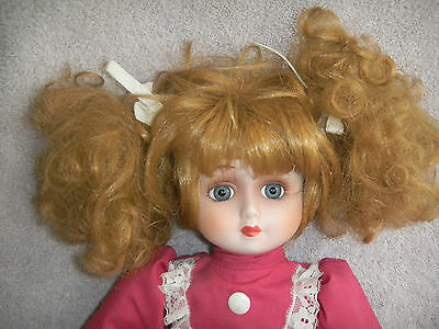 Porcelain Doll Pink White Dress Red Hair Blue Eyes With White Stand