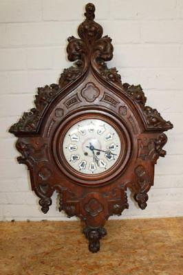 Large French Gothic Wall Clock 40 Inches Tall, Oak 19th Century