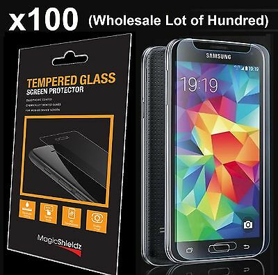 100x Wholesale Lot Tempered Glass Screen Protector for Samsung Galaxy S5 Retail