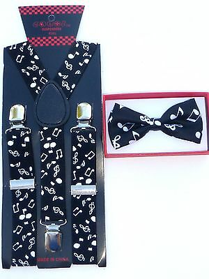 Suspender Bow Tie Matching Baby Toddler Kids Boys Girls Child Black Music Notes