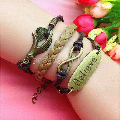 NEW DIY Infinity BELIEVE Heart Leather Cute Charm Bracelet plated Copper B169