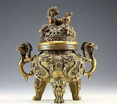 Collectible Chinese ancient Copper Dragon Tiger Incense Burner