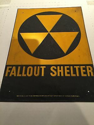 Vintage Metal Fallout shelter sign From 1960s