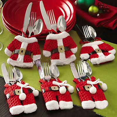 Set of 6 Santa Claus Clause Christmas Silverware Holders Pockets Holiday Decor