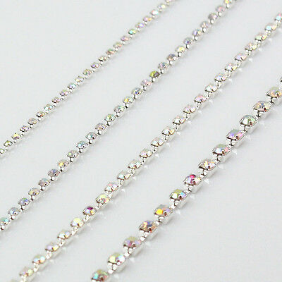 Crystal Clear AB color Rhinestones Silver Chain Trim Size: ss6 ss8 ss12 ss16