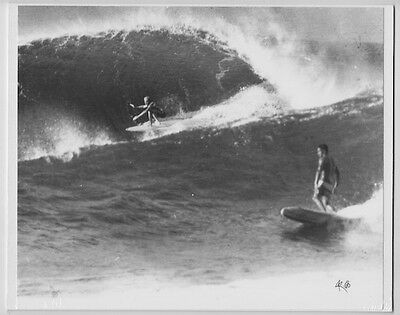 "Eddie Aikau & Steve Gaines Haleiwa 1968 Hand Printed Photograph On 8X10"" Matt"