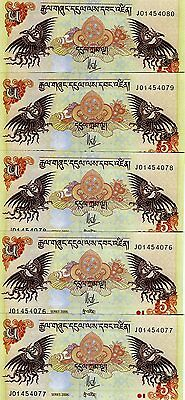 LOT, Bhutan,  5 x 5 Ngultum, 2006, P-28, UNC -> ornate