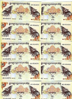 LOT, Bhutan,  10 x 5 Ngultum, 2006, P-28, UNC -> ornate
