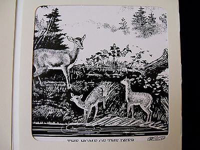 VINTAGE CURRIER AND IVES ART TILE -THE HOME OF THE DEER - NEW IN BOX