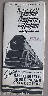"July 1943 ""The New York, New Haven and Hartford Railroad Co."" Summer Schedule"