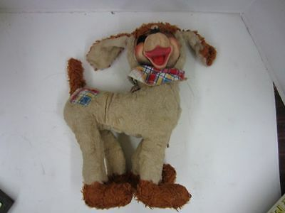 """Vintage 1950's Ideal RUBBER FACE PLUSH DOG 14"""" Tall It's a Wonderful Toy"""