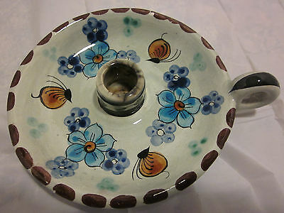 """Ken Edwards Pottery Candle Holder Mexico Signed """"Cat"""""""