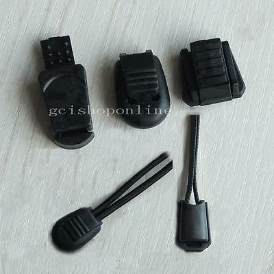 Plastic Cord Lock Ends Zipper Clip Pull Black Zip for Buckles Lanyard Paracord