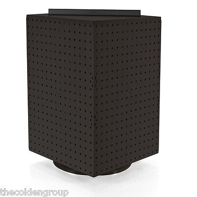 "Planet Racks 14"" x 14"" x 20"" Counter Top Rotating Pegboard Display Unit - Black"