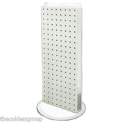 """Planet Racks 8"""" x 20"""" Counter Top Rotating Pegboard Display Unit - White"""